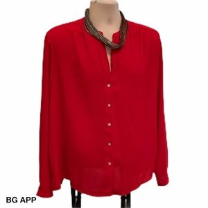 A NEW DAY RED BACK PLEATED CHRISTMAS SHIRT SZ XXL